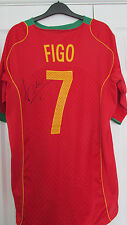 """Mano firmado """"Luis Figo, - Portugal"""" 2004 Home Camisa (prueba exactas & cert. de autenticidad)"""