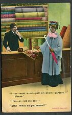 Posted 1915 Comic Card Lady in Shop for Garters 'SIR! What do you mean?'