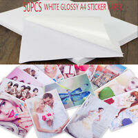 50 Sheets A4 Inkjet Waterproof Photo Print Paper Sticker Adhesive Glossy White