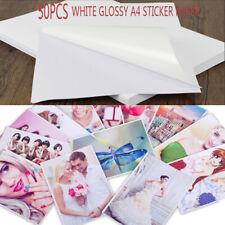 50 Sheets A4 Inkjet Waterproof Photo Print Paper Sticker Adhesive Glossy White