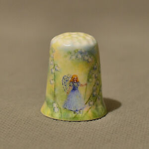 porcelain handpainted thimble faerie lilies of the valley bone china