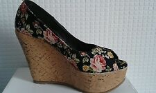 womens new flower design cork platform high wedge sandal slip on shoe u.k 7