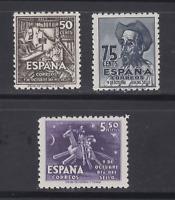 ESPAÑA (1947) MNH NUEVOS SIN FIJASELLOS - EDIFIL 1012/14 CERVANTES - LOTE 1