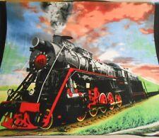 New Train Locomotive Fleece Throw Blanket Gift Railroad Steam Engine Choo-Choo