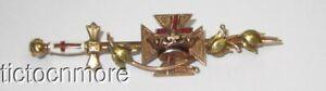 ANTIQUE MASONIC KNIGHTS TEMPLAR GOLD CENTER ENAMEL CROSS & CROWN SWORD PIN