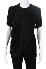 Lanvin Womens Short Sleeve Pleated Silk Front Blouse Top Black Size Small