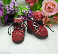 "12""  Blythe Pullip Momoko DAL Obitsu Bjd Doll Shoes Velvet Star Hole Boots RED"