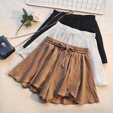Women High Waist Chiffon Shorts Loose Wide Leg Solid Plus Size Short Pants