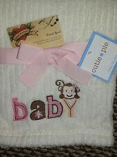 BABY BLANKET MONKEY FACE CUTIE PIE CHENILLE B A B Y FLOWERS CREAM GIRL SOFT