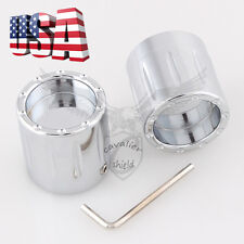 Chrome Edge Edge Cut Front Axle Cover Cap Nut For Harley Electra Street Glide US