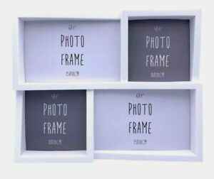 Multi Picture Aperture Collage Family 4 Photo Frame Holds 6x4 Photos & 4x4 White