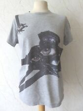 MOTHER OF PEARL | Grey Surveillance Eyes Graphic T-Shirt Top | High End