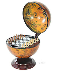 """Chess Board Set w/ Pieces Hidden in Nautical Table Top Old World Wood 13"""" Globe"""
