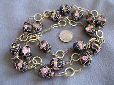 "37"" Vintage Venetian Murano Glass Wedding Cake Bead Necklace Black Unusual Shape"