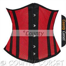 Steel Boned Underbust Heavy Lacing Shaper Red Black Mesh Summer Corset Korset