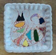 Céramique VALLAURIS, Vide poche carré, fait main, signé à identifier