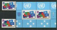 MICRONESIA....     1992 1st anniv U.N. + mini sheet  mnh