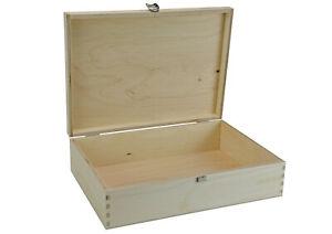 Holzbox mit Klappdeckel (332 x 230 x 86 mm L/B/H Innen) - naturbelassen - Kiste