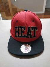 Miami Heat Mitchell and Ness Snapback Cap - Red and Black