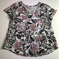 Loft Women's Short Sleeve T Shirt Top Large L Vintage Soft Floral V Neck Boho