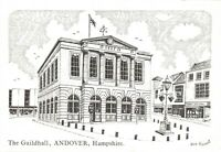 Art Sketch Postcard The Guildhall, Andover, Hampshire by Don Vincent AS1