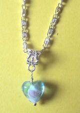 collier chaine argenté 41,5 cm avec pendentif coeur lampwork bleu
