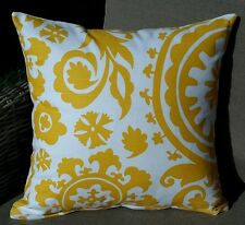 Yellow / White Suzani Cushion Cover - 50cm x 50cm