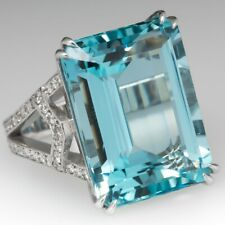 Amazing 41.32ct Aquamarine & White Gemstone Solitaire Ring 925 Sterling Silver