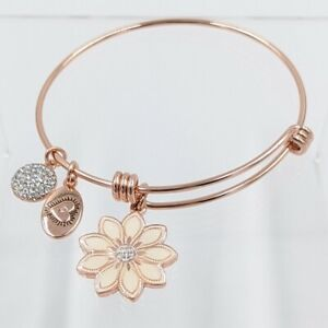 Footnotes Stainless Steel Wildflower Expandable Bracelet Rose Gold Tone