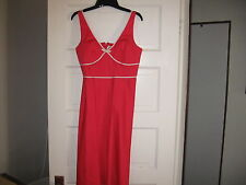 Red Hot Sun/Party Dress white trim-size 10P- sleeveless-above knee-cotton+Spand