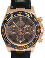 Rolex Daytona 18k Rose Gold Ceramic Chocolate Watch on Strap Box/Papers 116515