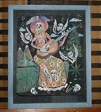 Woodstock Baez Pot Leaf Day of the Dead Singing Hippy Skelton Mexican Art -Velez