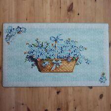 shabby chic français Vintage Bleu & BLANC WELCOME tissu Paillasson fleur panier