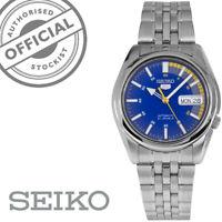 Seiko 5 Automatico Quadrante Blu Argento Acciaio Inox Orologio da Uomo SNK371K1