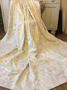 "Adorable Mushroom Grey Vintage Paisley Pink Cabbage Rose MTM Curtains 74""L NEW!"