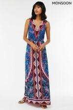 BNWT Monsoon Amanda SHORTER LENGTH Summer Blue Jersey Maxi Dress 12 £79