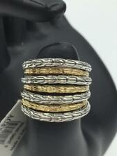 NWT $1,595 John Hardy Classic Chain 18k Gold Sterling Silver Multi Row Ring