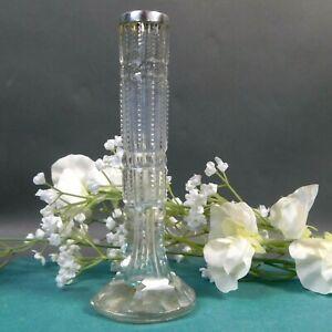 Victorian Cut Glass Vase, Hallmarked Sterling Silver Rim, Antique Bud Vase HFBW