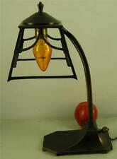 ANTIQUE ARTS & CRAFTS ORNATE OPEN WORK BRONZE DESK TABLE LAMP
