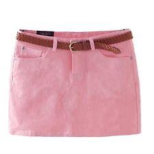 Matching Trendy Mini Candy Color Girls Low Waist Cotton Skirts UK Sz 6-14 Pink 6