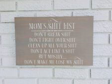 Mom's Sh*t List, Mom List Sign, Funny Mom Sign, Gift For Mom, Mom Sign, Gray