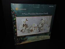 NEW 3 PIECE TRADITIONS PORCELAIN SNOWMAN FAMILY NEVER REMOVED FROM PACKAGING