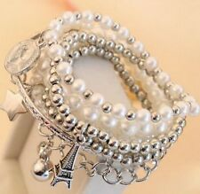 Multilayer 6 Rings~Pearl Eiffel Tower Star Coin Charm Bracelet Bangles Hand Cuff