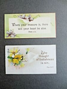 Antique Religious Bible Quotations Cards Mottos Sunday School Scrap Books x 2
