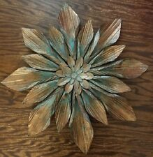 FLOWER METAL HOME WALL ART DISPLAY PLAQUE petals brown blue display decor accent