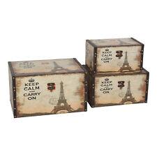 Kiste Vintage 3er Set Holzkiste Stauraum Aufbewahrung Retro Paris mit Kunstleder