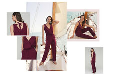 Long Tall Sally Woven V-neck Jumpsuit Bordeaux Size 10 RRP £75