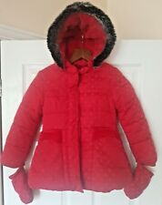 M&S Girl Red Spot Winter Jacket Coat Hoodie w/ Mittens  UK Age 5 - 6 Years