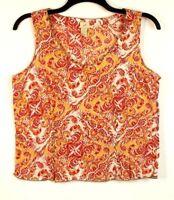 J Jill Womens Paisley Sleeveless Top Size Large
