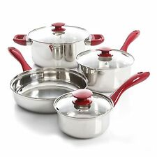 OSTER CRAWFORD 7 PC STAINLESS STEEL CUTLERY SET SAUCE PAN DUTCH OVEN FRY PAN